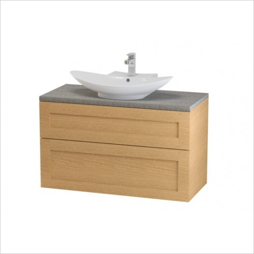 Miller Bathrooms - London Vanity Unit With Worktop 100cm With 2 Drawers