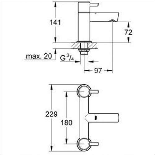 Grohe - Concetto 2 Handled Bath Filler 1/2''