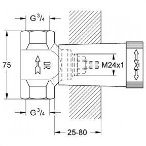 Grohe - Concealed Stop-Valve, 3/4''