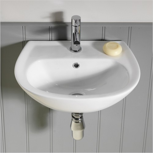 Qualitex Bathrooms - Ebony D Shaped Cloakroom Basin 450x300mm 1TH