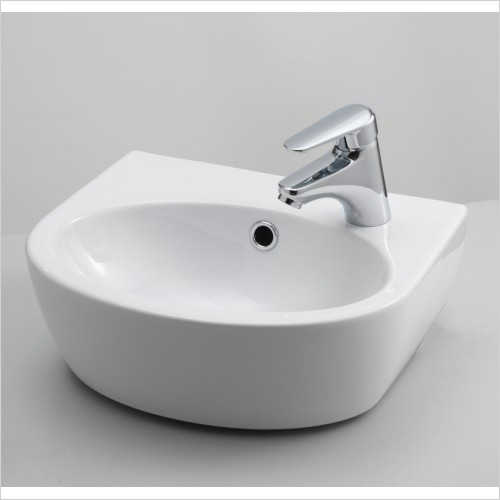 Qualitex Bathrooms - Parva 400x320mm Cloakroom Basin - Left Hand Tap Hole