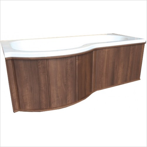 Qualitex Bathrooms - P-Shaped Shower Bath Wooden 1700 Front Panel Left Hand