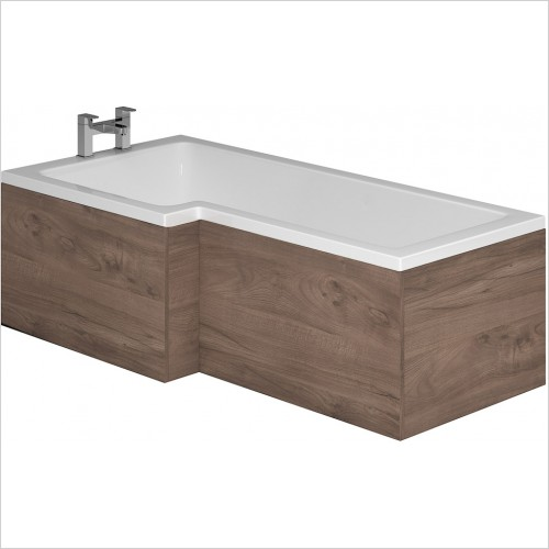 Qualitex Bathrooms - Wooden L-Shaped Shower Bath Front Panel 1700mm