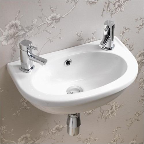 Qualitex Bathrooms - Carolina Cloakroom Basin 453x285mm 2TH