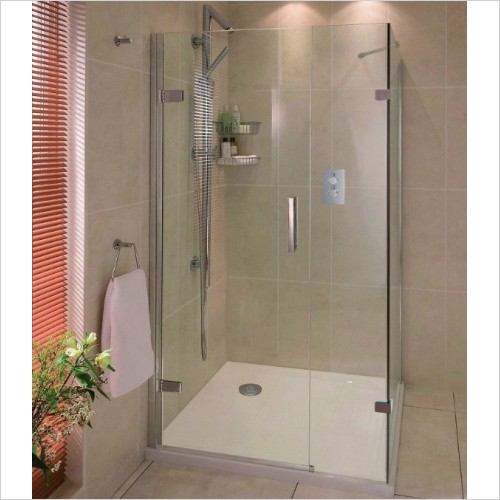 Aqata - Spectra Hinged Door In Line Side Screen 1000x800mm LHC